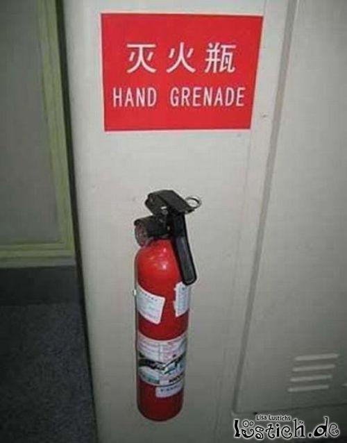 Handgranate als Feuerlöscher