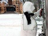 Schneemann an der Telefonzelle