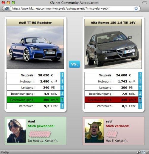 Auto Quartett Browserspiel