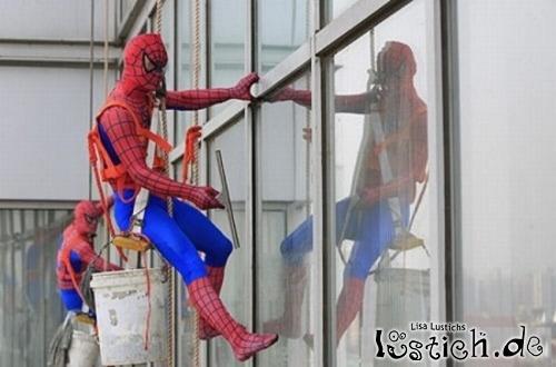 Spidermann Als Fensterputzer Bild Lustich De