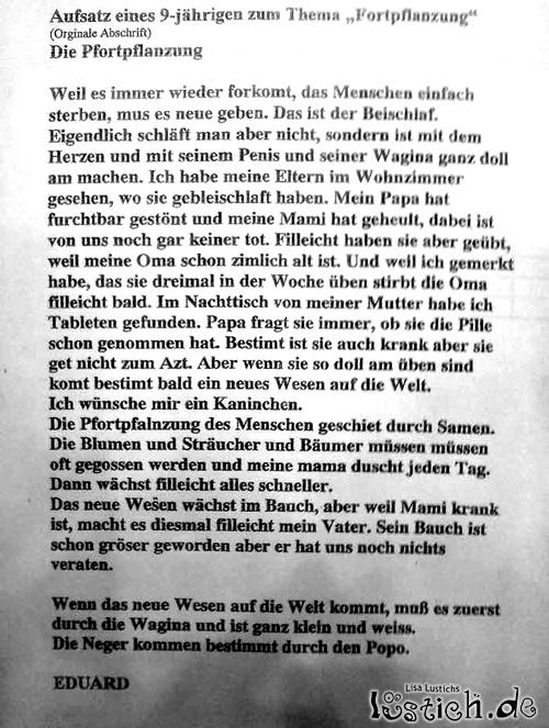 Aufsatz eines Schülers Bild - lustich.de