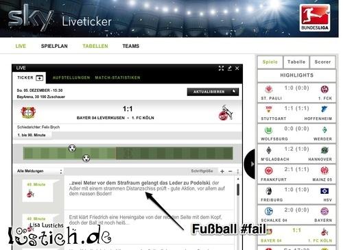Fussball Liveticker Fail Bild Lustich De
