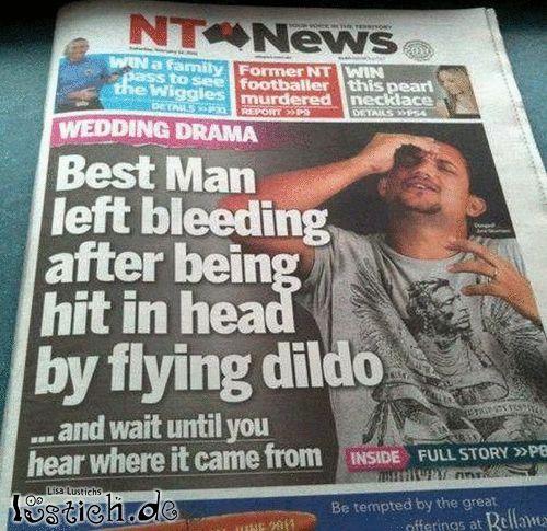 Mann blutet wegen fliegenden Dildo