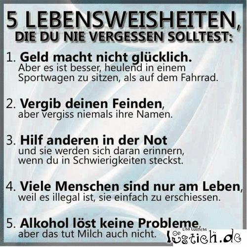 5 Lebensweisheiten Bild - lustich.de