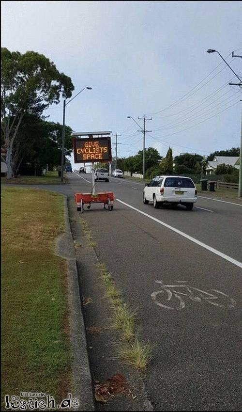 Platz für Fahrradfahrer